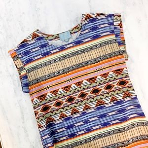 Skies Are Blue Dresses - Boho Tribal Stripe Day Dress